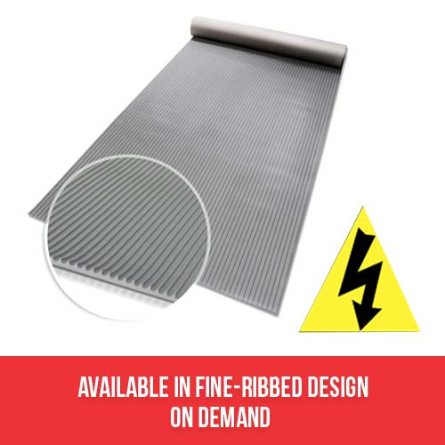 Duratuf Electrical Rubber Mats, IEC 61111, Grey Fine Ribbed Design